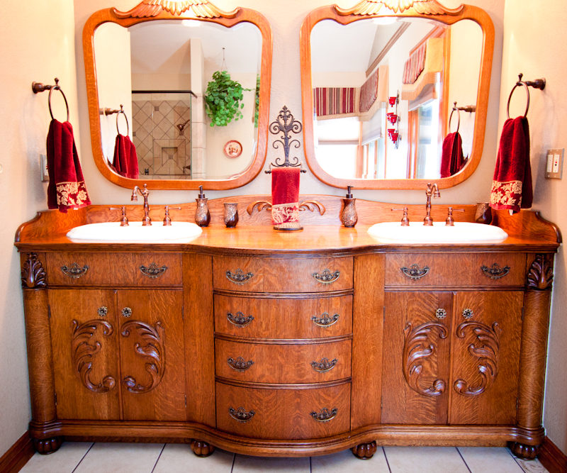 victorian style oak bathroom vanity