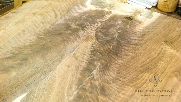 04 Bookmatched Burl Locally Harvested Walnut Wainscot Panel