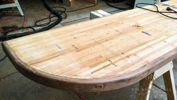 06 Reclaimed Oak Boxcar Floor Bartop with Locally Harvested Walnut Edge