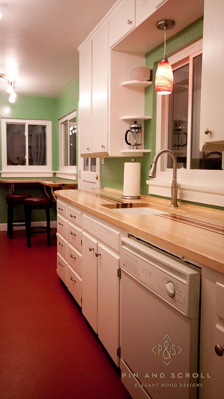 finger jointed maple and bubinga butcher block counter. Black Bedroom Furniture Sets. Home Design Ideas