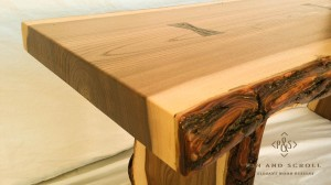 Live Edge English Elm Slab Bench with Exotic Wenge Butterfly Joints 01