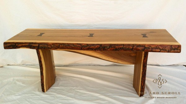 Live Edge English Elm Slab Bench with Exotic Wenge Butterfly Joints 02