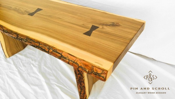 Live Edge English Elm Slab Bench with Exotic Wenge Butterfly Joints 04