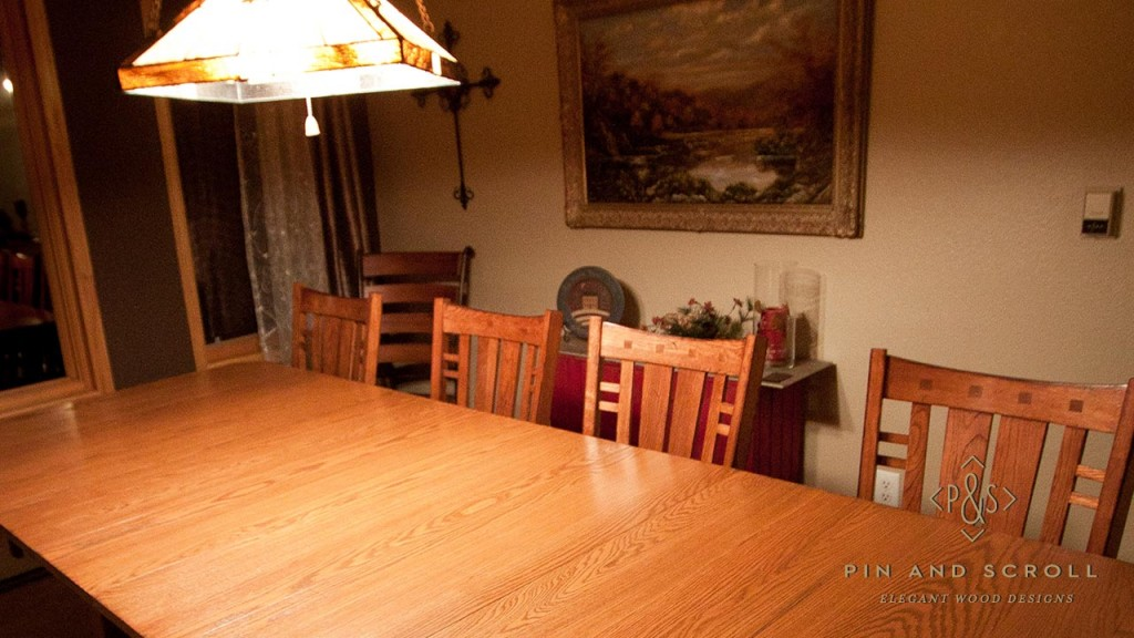 Oak dining table for Arts and crafts dining room set