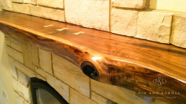 Walnut slab mantel for How to finish a wood slab
