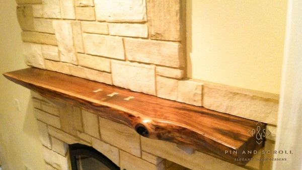 Live Edge Walnut Slab Mantel with Butterfly Joints 02