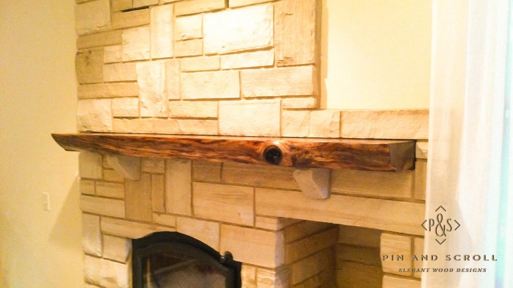 Live Edge Walnut Slab Mantel With Butterfly Joints 03
