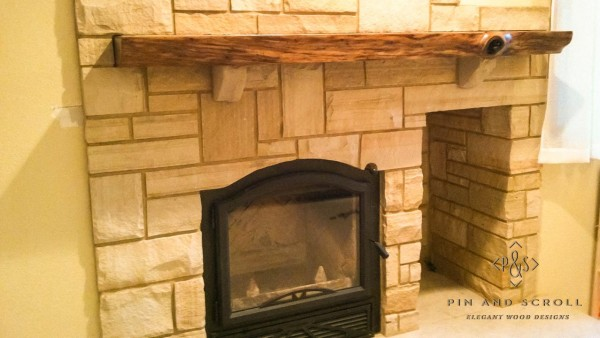 Live Edge Walnut Slab Mantel with Butterfly Joints 04
