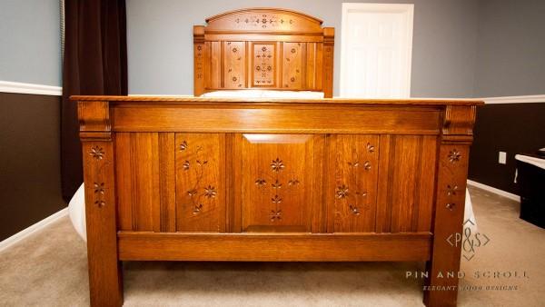 Reproduction Eastlake Style Quartersawn Oak Queen Size Bed 01