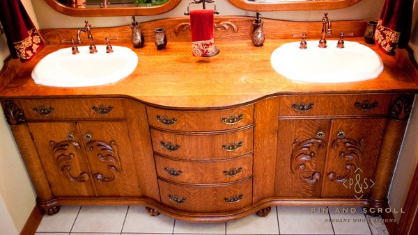 Reproduction Victorian Style Quartersawn Oak Bathroom Vanity 02