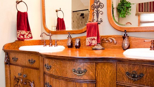 Reproduction Victorian Style Quartersawn Oak Bathroom Vanity 05
