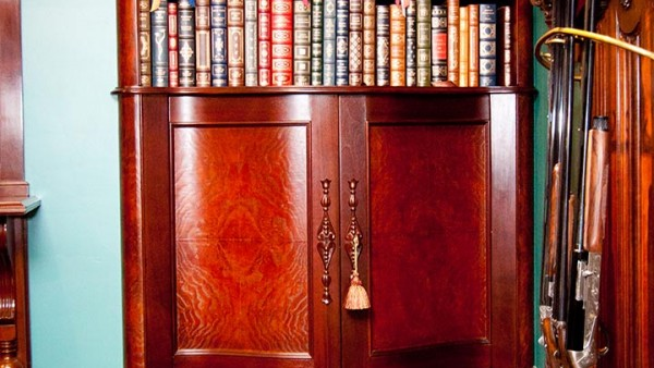 Reproduction Victorian Style Serpentine Front Walnut Entertainment Center 02